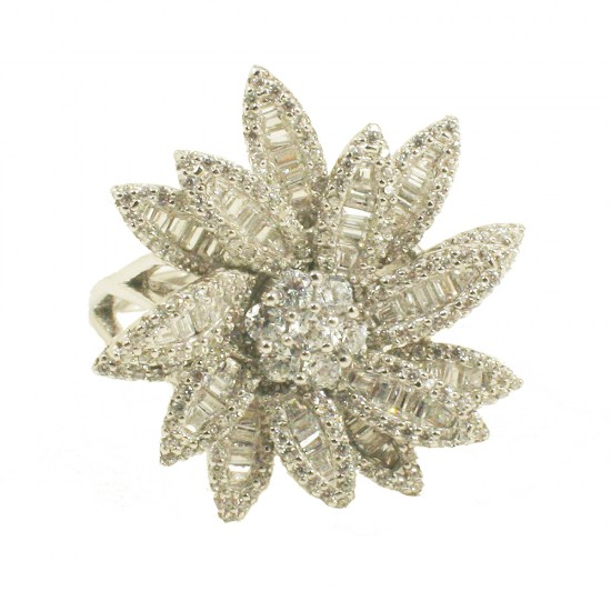 Δαχτυλίδι flower από ασήμι με ευρωπαικά ΑΑΑ ποιότητας ζιργκόν σε λευκό χρώμα 883520