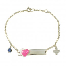 Children's bracelet with heart with pink enamel eye and Silver Cross for baptism  29090