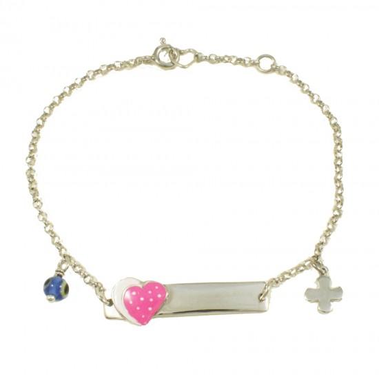 Παιδική ταυτότητα με καρδιά με ροζ σμάλτο ματάκι και Σταυρό από ασήμι 29090