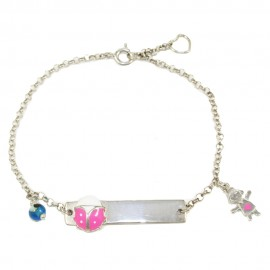 Children's bracelet with lilac with enamel and baby girl made of silver for baptism  34190