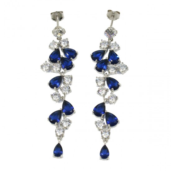 Earrings summer grapes with white and blue AAA quality European zircons made of silver platinum  1248