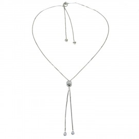 Necklace open and adjustable on both sides with solitaire with European AAA quality white zircons and hearts from silver 9335