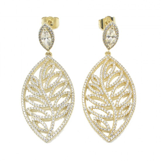 Daphne Leaf Earrings with white zircons European AAA quality and gold plated silver ME40102G