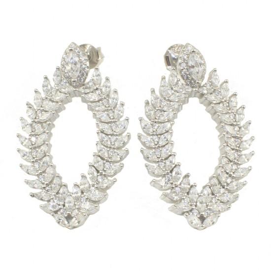 Σκουλαρίκια laurel wreath με ευρωπαικά ΑΑΑ ποιότητας ζιργκόν σε λευκό χρώμα και ασήμι με πλατίνα 115046