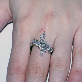 Branche d'olivier ring with European AAA quality zircon in white and silver with platinum  2811