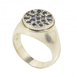 Sterling silver chevalier ring with blue zircon in sapphire color  DD1003