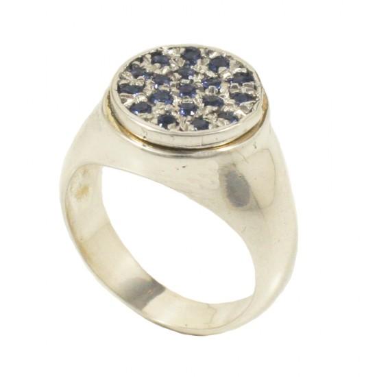 Δαχτυλίδι chevalier από ασήμι με μπλέ ζιργκόν στο χρώμα του ζαφειριού DD1003