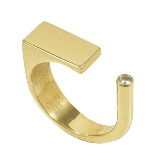 Gold ring K14 with open rectangular head and zircon in white color  42568