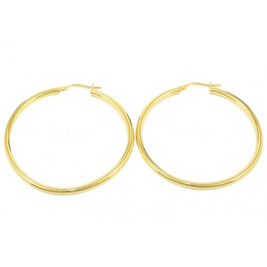 Earrings with gold-plated and polished silver hoops  56196
