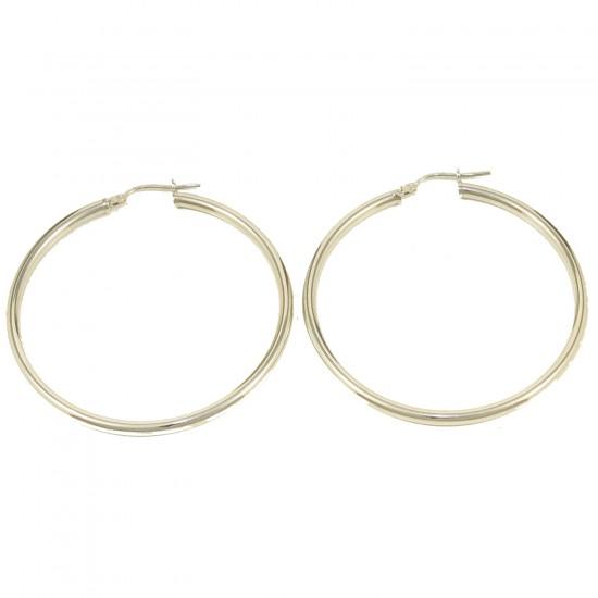 Σκουλαρίκια κρίκοι από ασήμι επιπλατινωμένοι 56196W