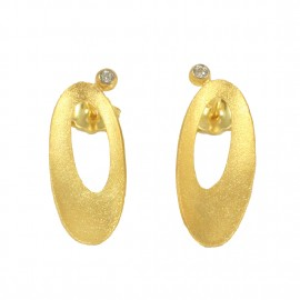 Gold earrings K14 with oval satin design and white zircons 17022