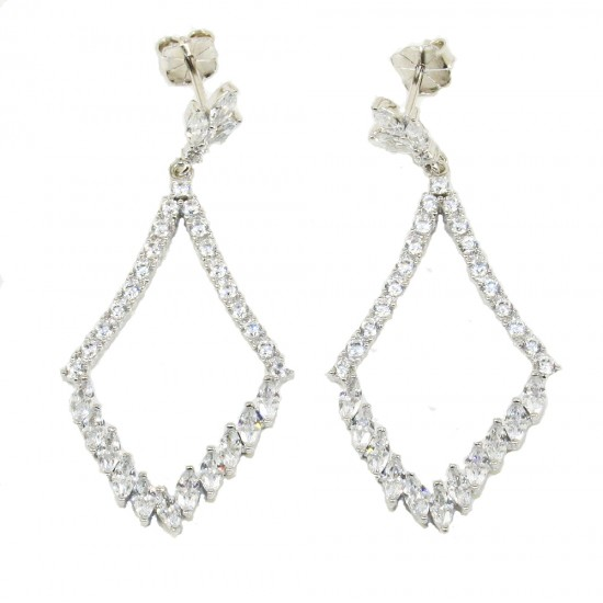 Silver earrings with drop design with European AAA quality zircon in white color  552170