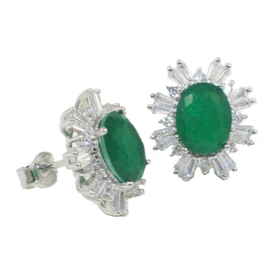 Silver oval rosette earrings with European AAA quality white and green zircon in emerald color  4318