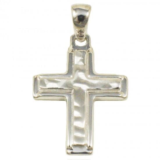Σταυρός  από ασήμι λουστραριστός και σφυρίλατος 18665