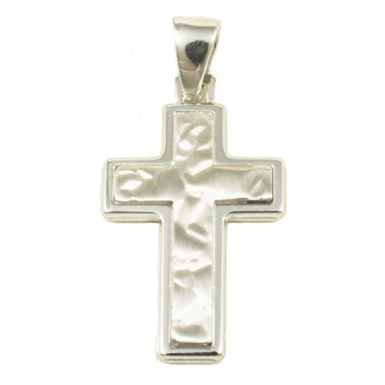 Σταυρός  από ασήμι λουστραριστός και σφυρίλατος 43015