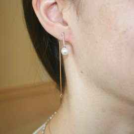 Earrings rose gold K14 with white zircons and pearls