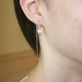 Σκουλαρίκια ροζ χρυσός Κ14 κρεμαστά με λευκά ζιργκόν και μαργαριτάρια