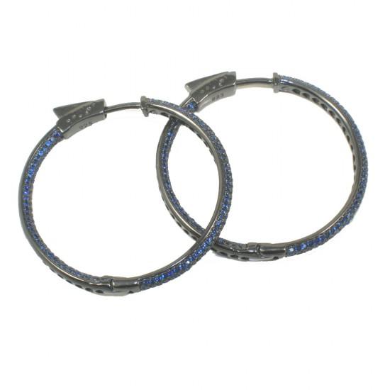 Σκουλαρίκια κρίκοι από ασήμι με μπλέ ζιργκόν 1174680