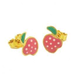 Children's earrings gold K14 with pink color strawberries with enamel P0902842