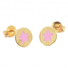 Children's earrings rose gold K9 with pink enamel stars 077S