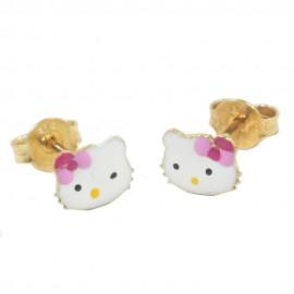 Παιδικά σκουλαρίκια χρυσά Κ9 Hello Kitty με σμάλτο 077HK