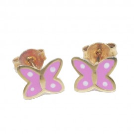 Children's earrings rose gold K9 with butterflies with pink enamel  066B