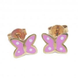 Παιδικά σκουλαρίκια ροζ χρυσό Κ9 με πεταλούδες με ροζ σμάλτο 066B