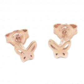Children's earrings rose gold K9 with butterfly design  0896