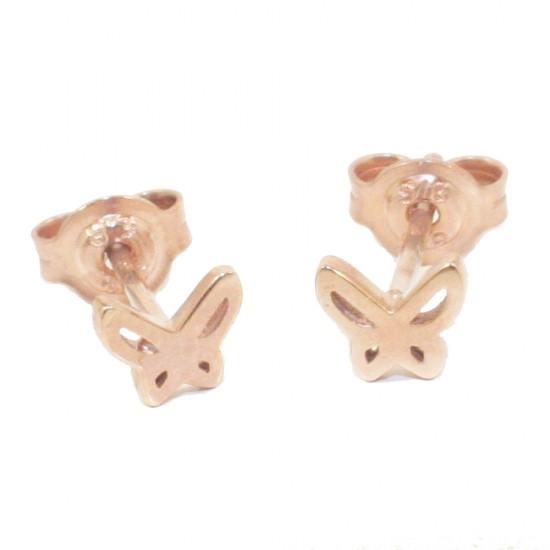 Παιδικά σκουλαρίκια ροζ χρυσό Κ9 με σχέδιο πεταλούδες 0896