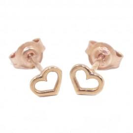 Παιδικά σκουλαρίκια ροζ χρυσό Κ9 με σχέδιο καρδιές 0672H