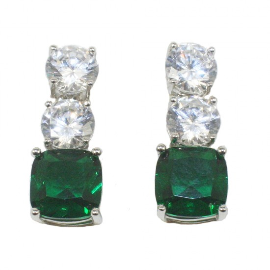 Σκουλαρίκια κρεμαστά από ασήμι με λευκά και πράσινα ζιργκόν 461940