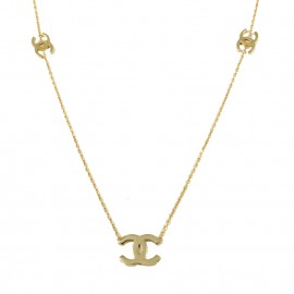 Necklace rose gold K14 with chanel design with five pendants distributed in the necklace  15517
