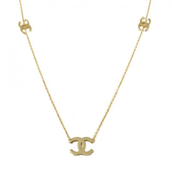 Κολιέ ροζ χρυσό Κ14 με σχέδιο chanel 15517