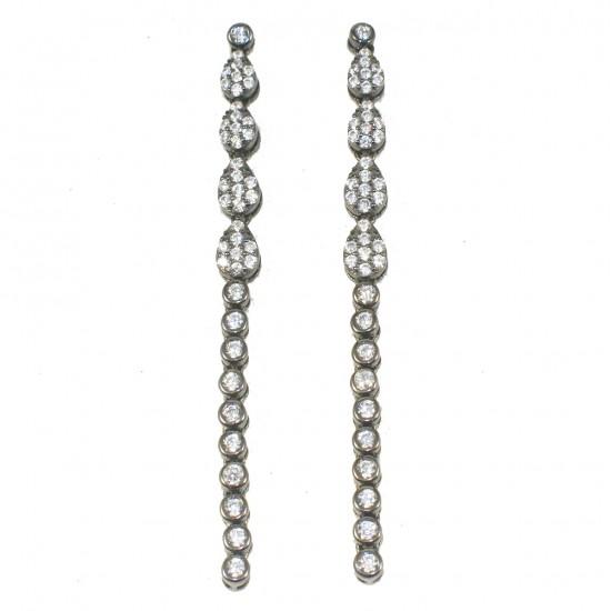 Σκουλαρίκια μαργαρίτες από ασήμι με λευκά ζιργκόν  602280