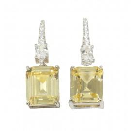 Σκουλαρίκια από ασήμι με ζιργκόν σε λευκό και κίτρινο χρώμα citrine 8837