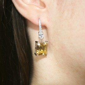 Silver earrings with European AAA quality zircon in white and yellow citrine color 8837