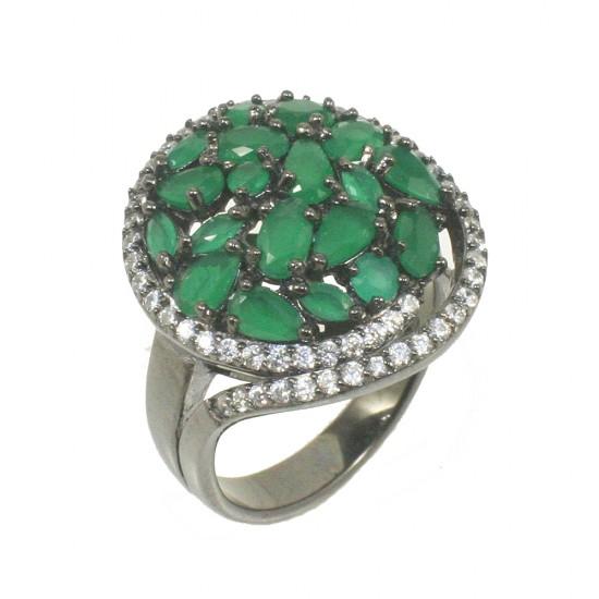 Δαχτυλίδι water lily από ασήμι με ζιργκόν σε πράσινο και λευκό χρώμα 903640