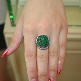 Water lily ring made of silver with European AAA zircon quality in green and white color 903640