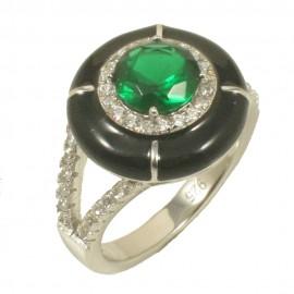 Δαχτυλίδι ροζέτα από ασήμι με ζιργκόν σε λευκό και πράσινο χρώμα 522290