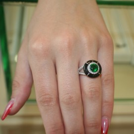 Silver rosette ring with European AAA quality zircon in white and green and enamel in black 522290