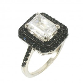 Princess ring made of silver with European AAA quality zircons in white and black color 381670