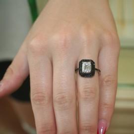Δαχτυλίδι Princess από ασήμι με ζιργκόνια σε λευκό και μαύρο χρώμα 381670