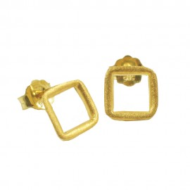 Earrings gold K14 squares with satin in gold  08105