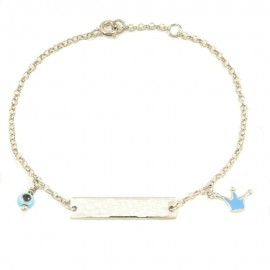 Children΄s bracelet made of silver with crown with enamel  22590