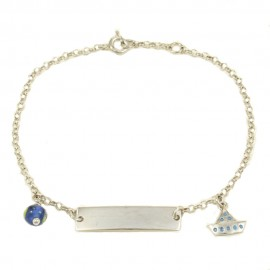 Children's bracelet made of silver with enamel boat  23590