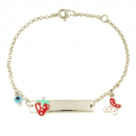Children's bracelet made of silver with strawberry and butterfly with enamel 28590