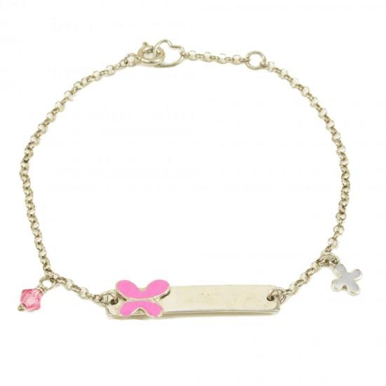 Παιδική ταυτότητα από ασήμι με πεταλούδα με ροζ σμάλτο 27290