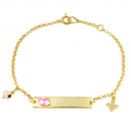 Children's bracelet made of silver gold plated with heart design with pink enamel  27890