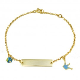 Children's bracelet made of silver gold plated with crown design with blue enamel  23590C