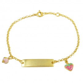 Children's bracelet made of silver gold plated with strawberry design with pink enamel  24690